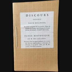 1. Discours prononcé par M. Delambre - Éloge historique de M. De Lalande
