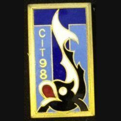 98° CIT : insigne métallique du 98° centre d'instruction des transmissions de fabrication Drago G. 1281 en émail