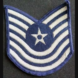 US PATCH : galon de Master Sergeant de l'US AIR FORCE rank blanc sur fond bleu
