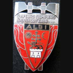 POMPIERS : insigne métallique des pompiers d'Albi de fabrication Ballard sur son cuir (4)