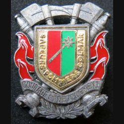 POMPIERS : insigne métallique des pompiers de Colmar de fabrication Ballard sur son cuir (4)