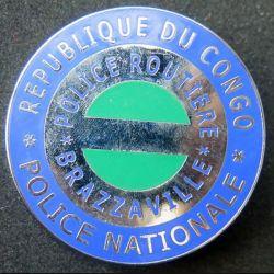 POLICE : plaque métallique de la police routière de la police nationale de Brazzaville république du Congo sur son cuir (6)