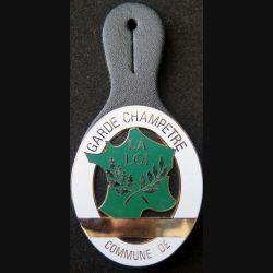 POLICE : plaque métallique de garde champêtre sur son cuir (6)