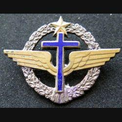 AIR : insigne métallique de béret des aumoniers militaires de l'Armée de l'air de fabrication Moret numéroté 125