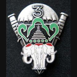 1° RCP : insigne métallique de la 3° compagnie du 1° régiment de chasseurs parachutistes de fabrication Ballard