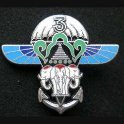 1° RCP : insigne métallique de la 3° compagnie du 1° régiment de chasseurs parachutistes à la Réunion de fabrication Ballard