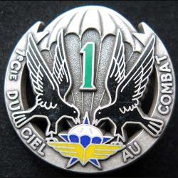 1° RCP : insigne métalliqte de la 1° compagnie du 1° régiment de chasseurs parachutistes de fabrication Ballard