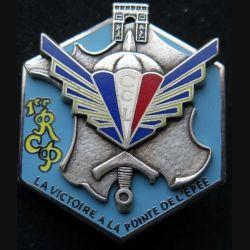 1° RCP : insigne métallique de la compagnie de commandement et de logistique CCL du 1° régiment de chasseurs parachutistes de fabrication Ballard