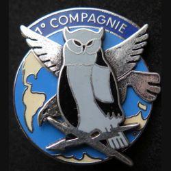 44° RT : insigne métallique de la 1° compagnie du 44° régiment de transmission de fabrication Ballard aigle et chouette en relief