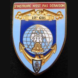 45° RT : insigne métallique de la 12° compagnie du 45° régiment de transmissions de fabrication Ballard bandeau rouge