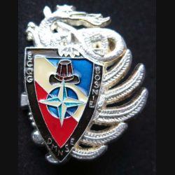 14° RPCS : insigne métallique de l'ECQG escadron de circulation quartier général du 14° RPCS en Bosnie DMNSE de fabrication Ballard finition ARGENT avec poinçon