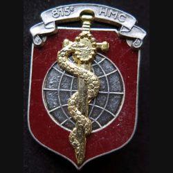 815° HMC : Insigne métallique de l'hôpital militaire de campagne 815 de fabrication Ballard bandeau argenté