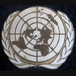ONU: insigne métallique peinte de béret bombé de l'ONU