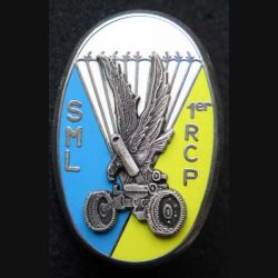 1° RCP : insigne métallique de la section de mortiers lourds SML du 1° régiment de chasseurs parachutistes de fabrication Ballard