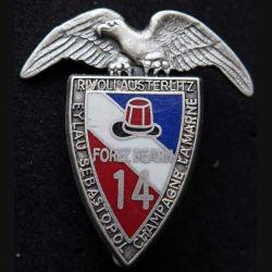 14° RPCS : insigne métallique du 14° régiment parachutiste de commandement et des services de fabrication Ballard