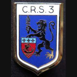 CRS 3 : insigne métallique de la compagnie républicaine de sécurité n° 3 de fabrication Ballard