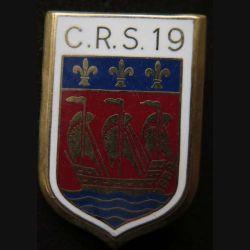 CRS 19 : insigne métallique de la compagnie républicaine de sécurité n° 19 de fabrication Ballard