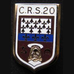CRS 20 : insigne métallique de la compagnie républicaine de sécurité n° 20 de fabrication Ballard