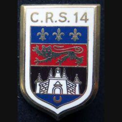 CRS 14 : insigne métallique de la compagnie républicaine de sécurité n° 14 de fabrication Ballard