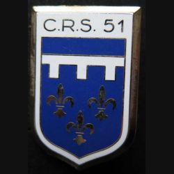 CRS 51 : insigne métallique de la compagnie républicaine de sécurité n° 51 de fabrication Ballard