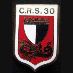 CRS 30 : insigne métallique de la compagnie républicaine de sécurité n° 30 de fabrication Ballard