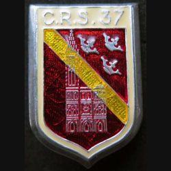 CRS 37 : insigne métallique de la compagnie républicaine de sécurité n° 37 de fabrication Ballard fabrication prestige translucide