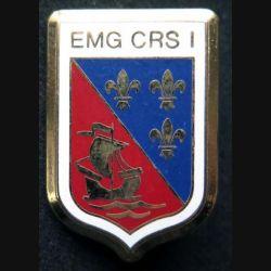 EMG CRS 1 : insigne métallique de l'EMG de la compagnie républicaine de sécurité n° 1 de fabrication Ballard