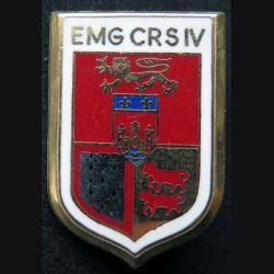EMG CRS IV : insigne métallique de l'EMG de la compagnie républicaine de sécurité n° IV de fabrication Ballard plat