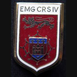 EMG CRS IV : insigne métallique de l'EMG de la compagnie républicaine de sécurité n° IV de fabrication Ballard écu en relief
