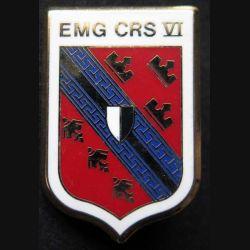 EMG CRS VI : insigne métallique de l'EMG de la compagnie républicaine de sécurité n° VI de fabrication Ballard