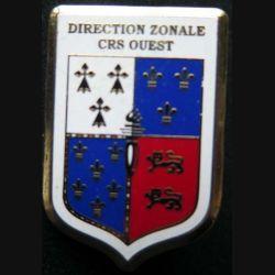 DZ CRS OUEST : insigne métallique de la direction zonale des compagnies républicaines de sécurité Ouest de fabrication Ballard