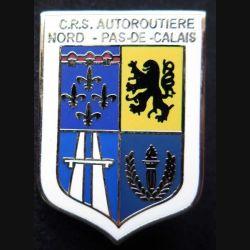 CRS AUTOROUTIERE NORD PAS DE CALAIS : insigne métallique de la compagnie républicaine de sécurité autoroutière Nord Pas-de-Calais de fabrication Ballard