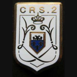 CRS 2 : insigne métallique de la compagnie républicaine de sécurité n° 2 de fabrication Ballard