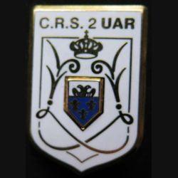 CRS 2 UAR : insigne métallique de l'unité autoroutière de la compagnie républicaine de sécurité n° 2 de fabrication Ballard