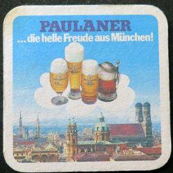 DESSOUS DE VERRE A BIÈRE : Dessous de verre à bière Paulaner Munchen de largeur 9,3 cm