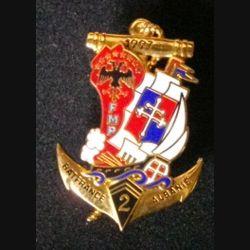 2° RIMA : insigne métallique du 2° régiment d'infanterie de marine RIMA FMP BATFRANCE ALBANIE 1997 de fabrication Arthus Bertrand Paris
