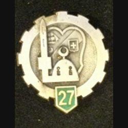 27°ET : insigne métallique du 27° escadron du train de fabrication Drago Paris Olivier Métra H. 232 en émail