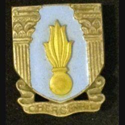 EMIC : insigne de l'école militaire de Cherchell en émail de fabrication Drago rue Béranger déposé