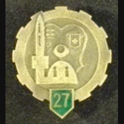 27°ET : insigne métallique du 27° escadron du train en émail petit boléro percé