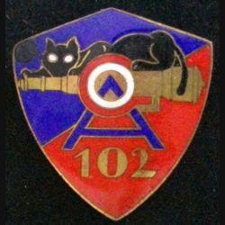 102° GOA : insigne métallique du 102° groupe d'observation de l'artillerie de fabrication klein & Quenzer en émail