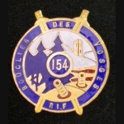 154° RIF : insigne métallique du 154° régiment d'infanterie de forteresse RIF de fabrication Bacqueville en émail